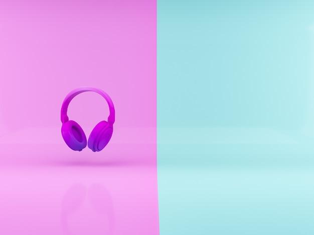 Casque rendu 3d violet sur fond abstrait différent corlor concept minimaliste