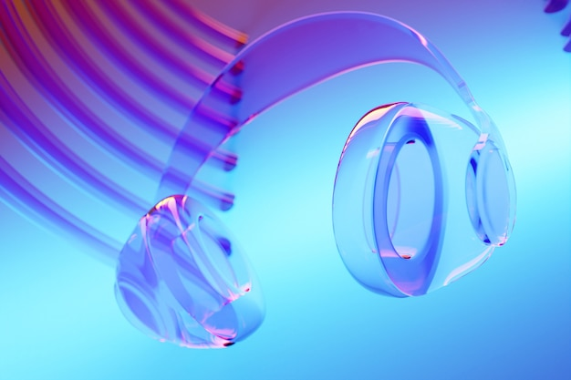 Casque sans fil en verre réaliste illustration 3d isolé sur fond bleu sous néon rose et bleu.