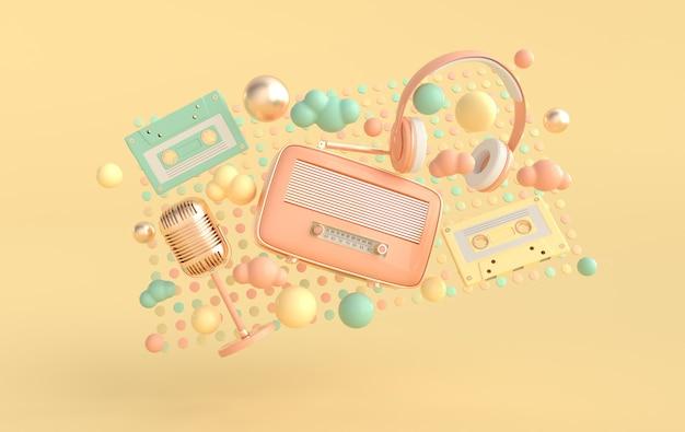 Casque de style vintage, récepteur radio, nuages de cassettes et microphone