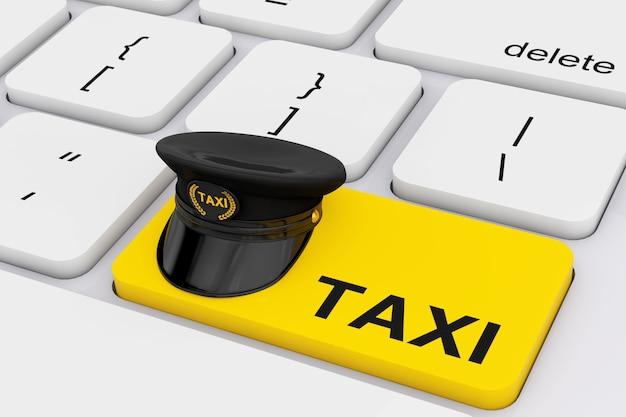 Casquette de chauffeur de taxi noir avec cocarde de goldan et signe de taxi sur la clé d'assurance de taxi jaune sur un clavier de pc blanc en gros plan extrême. rendu 3d