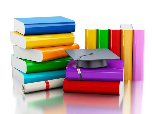 Casquette de graduation 3d et pile de livres.