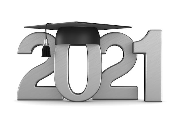 Casquette de graduation sur l'espace blanc