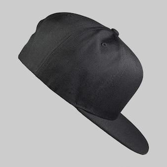 Casquette snapback couleur noire en vue latérale isolée sur fond gris