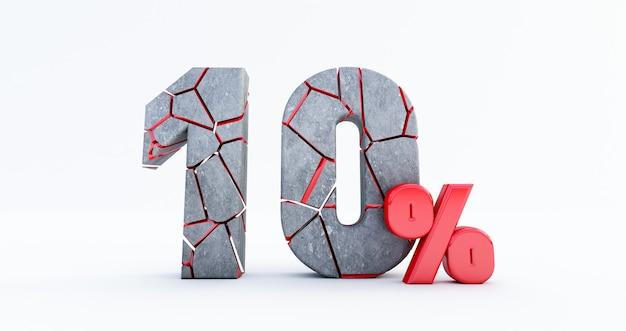 Cassé dix pour cent (10%) isolé, 10 dix pour cent de vente. jusqu'à 10%.