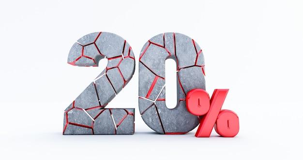 Cassé vingt pour cent (20%) isolé, 20 vingt pour cent de vente. jusqu'à 20%.