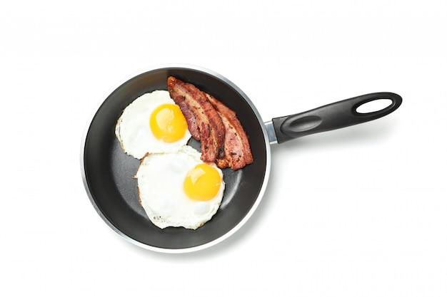 Casserole, à, oeufs frits, et, bacon, isolé