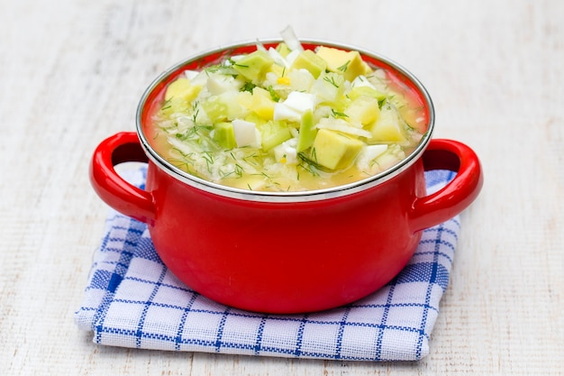 Casserole rouge avec soupe d'été traditionnelle okroshka