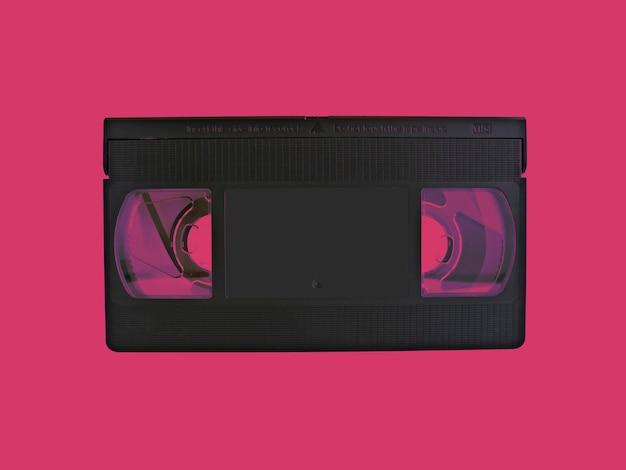 Cassette vhs avec effet de couleur violette