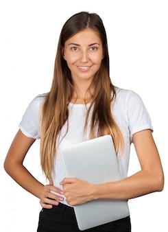 Casual femme avec un ordinateur portable