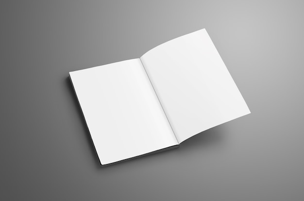 Catalogue vierge élégant a4, (a5) avec des ombres douces et réalistes isolées sur une surface grise. brochure ouverte sur la dernière page et peut être utilisée pour votre conception.