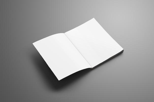 Catalogue vierge universel a4, (a5) avec des ombres douces et réalistes isolées sur une surface grise. magazine ouvert sur la première page et peut être utilisé pour votre conception.