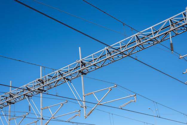 Caténaire d'un train électrique.