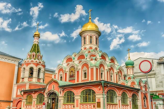 Cathédrale notre-dame de kazan sur la place rouge, moscou, russie
