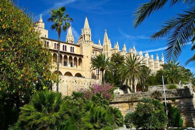 La cathédrale de santa maria de palma et parc del mar majorque, espagne