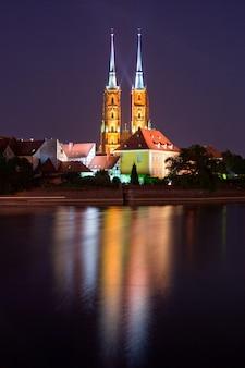 Cathédrale de wroclaw la nuit