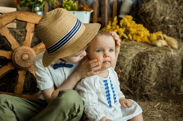 Caucasien petit garçon embrasse une petite fille à la surface d'une botte de foin. style de ferme
