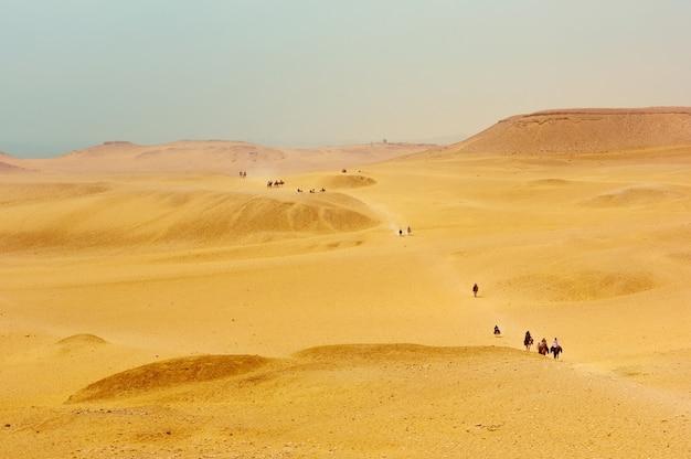 Cavaliers à cheval dans le désert