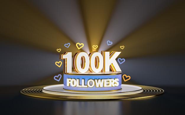 Célébration de 100 000 abonnés merci bannière de médias sociaux avec rendu 3d de fond d'or de projecteur