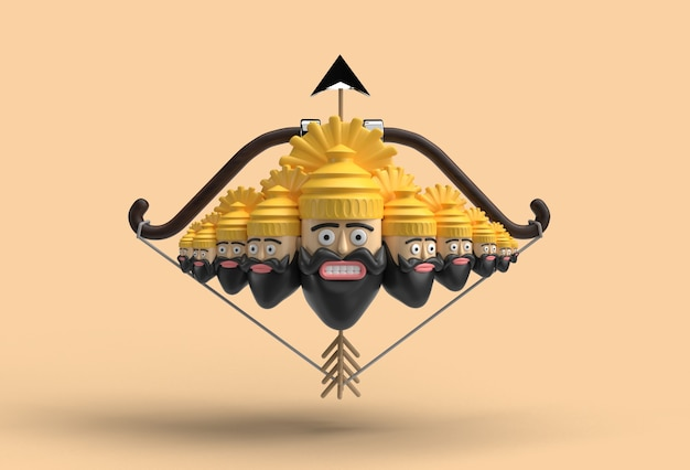 Célébration 3d de dussehra - ravana dix têtes avec arc et flèche - tracé de détourage créé par l'outil stylo inclus dans jpeg facile à composer.
