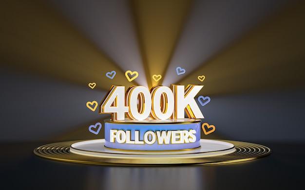 Célébration de 400k adeptes merci bannière de médias sociaux avec rendu 3d de fond d'or de projecteur