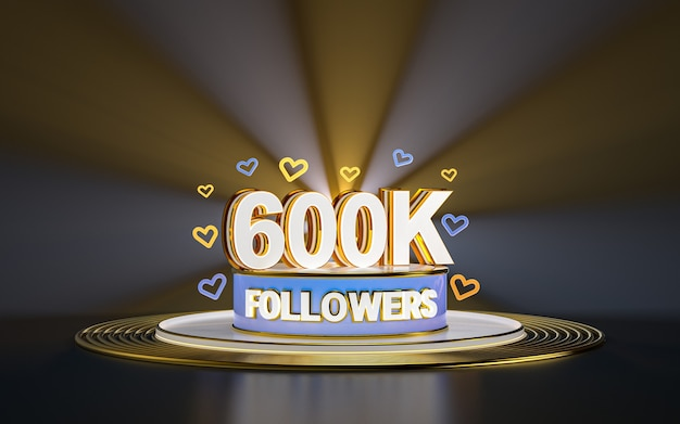 Célébration de 600k abonnés merci bannière de médias sociaux avec rendu 3d de fond d'or de projecteur