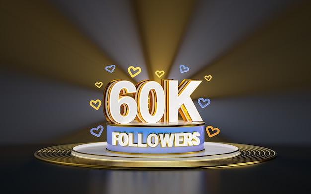 Célébration de 60k adeptes merci bannière de médias sociaux avec rendu 3d de fond d'or de projecteur