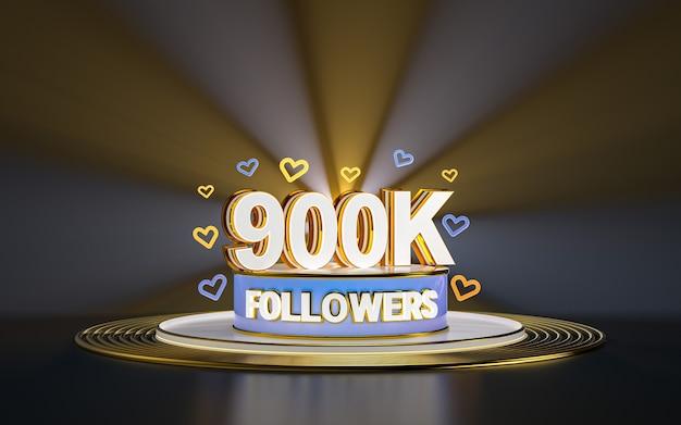 Célébration de 900 000 abonnés merci bannière de médias sociaux avec rendu 3d de fond d'or de projecteur