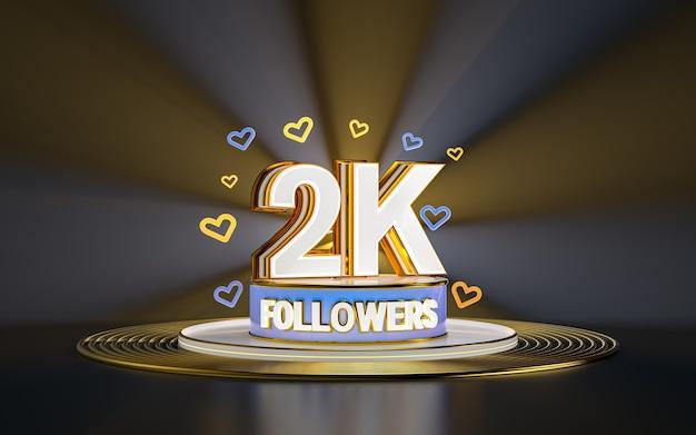 Célébration des abonnés 2k merci bannière de médias sociaux avec rendu 3d de fond d'or de projecteur
