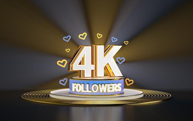 Célébration des abonnés 4k merci bannière de médias sociaux avec rendu 3d de fond d'or de projecteur