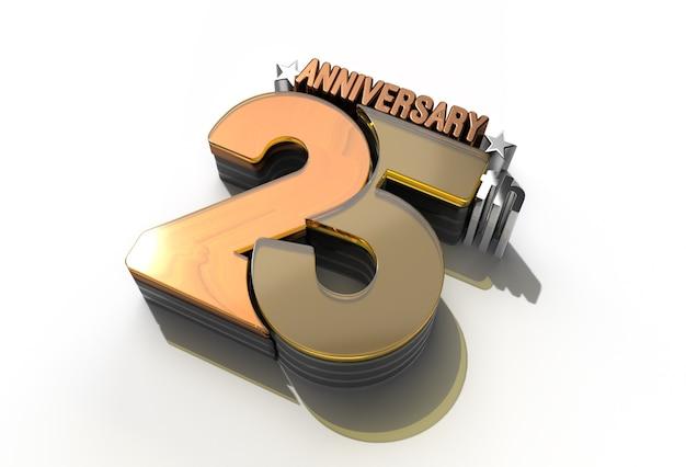 Célébration du 25e anniversaire du rendu 3d - tracé de détourage créé par l'outil stylo inclus dans jpeg facile à composer.