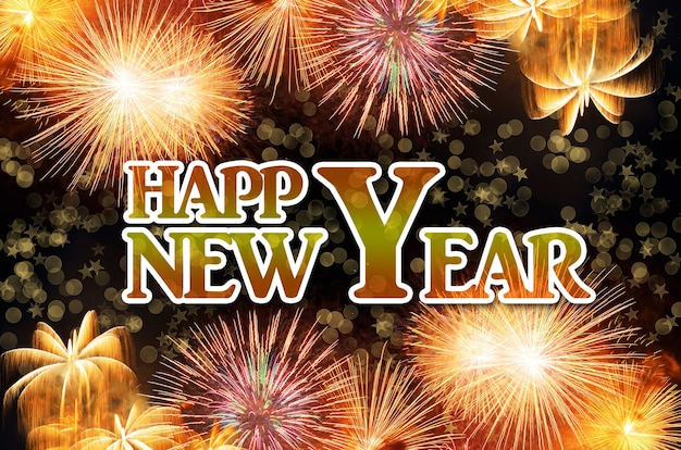 Célébration du nouvel an avec feu d'artifice