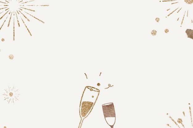 Célébration du nouvel an fond champagne pailleté