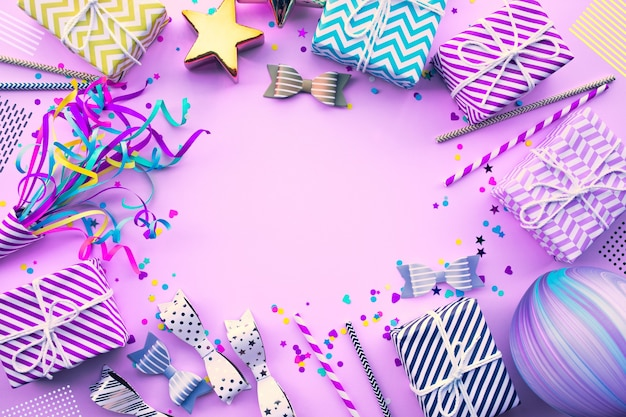 Célébration du nouvel an, idées de concepts d'arrière-plans de fête d'anniversaire avec élément coloré