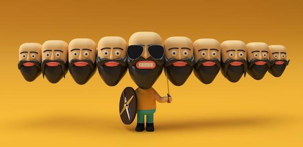 Célébration de dussehra - ravana avec dix têtes chauves avec illustration de rendu 3d d'épée et de bouclier.