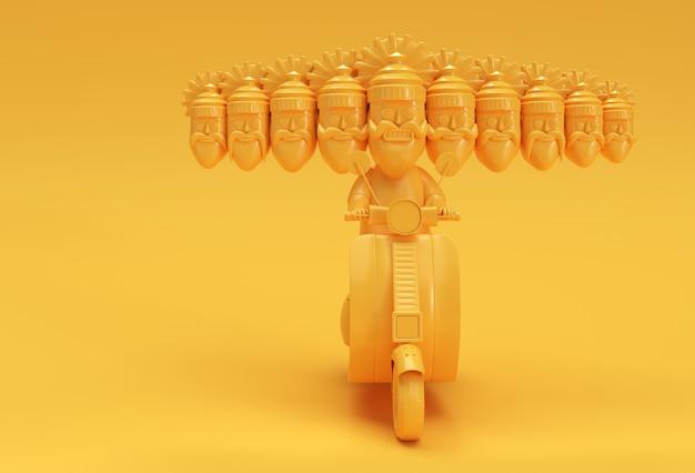 Célébration de dussehra - ravana avec dix têtes d'équitation illustration de rendu 3d de scooter.