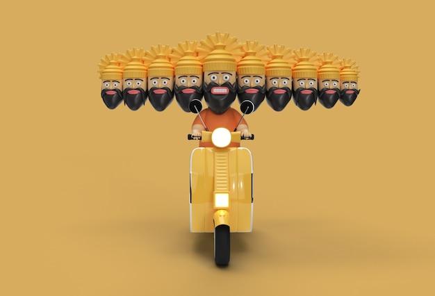 Célébration de dussehra - ravana avec dix têtes d'équitation scooter - outil stylo créé chemin de détourage inclus dans jpeg facile à composer.