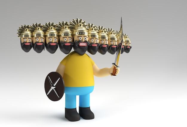 Célébration de dussehra - ravana avec dix têtes avec illustration de rendu 3d d'épée et de bouclier.