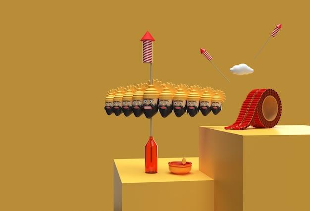 Célébration de dussehra de rendu 3d - tracé de détourage créé par l'outil stylo inclus dans jpeg facile à composer.