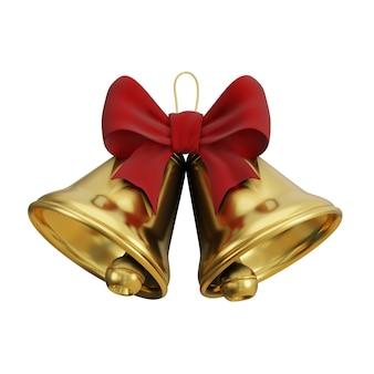 Célébrations de noël deux cloches d'or sur un rendu 3d de fond blanc