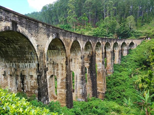 Le célèbre pont à neuf arches du chemin de fer dans la jungle au sri lanka