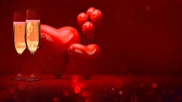 Célébrer la saint-valentin avec du champagne, des coeurs et des ballons