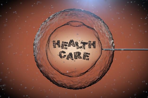 Cellule humaine abstraite avec signe de soins de santé et aiguille de tube sous microscope gros plan extrême. rendu 3d