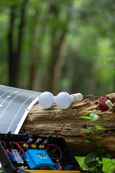 Cellule solaire avec lampe dans la forêt