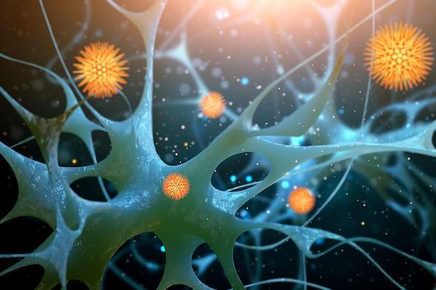 Cellules nerveuses isolées sur bleu