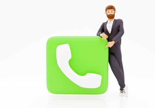 Centre d'appels d'homme d'affaires de rendu 3d, illustration avec fond blanc isolé.