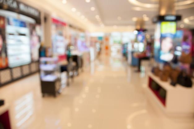 Centre commercial magasin flou fond avec bokeh