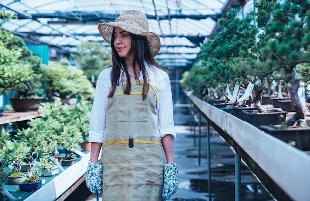 Centre de serre bonsai. rangées de petits arbres, femme travaillant et prenant soin des plantes