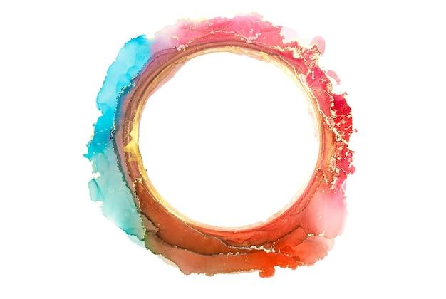Cercle abstrait aquarelle bleu, rouge et or, coups de pinceau d'encre isolés