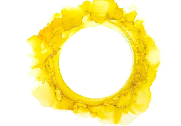 Cercle abstrait aquarelle jaune et orange, coups de pinceau d'encre isolés