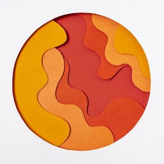 Cercle abstrait avec des formes ondulées dans un style papier